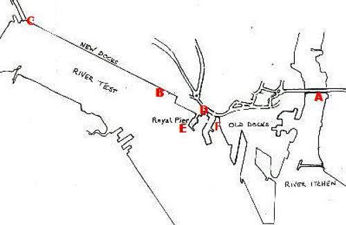 Southampton docks map TITLE