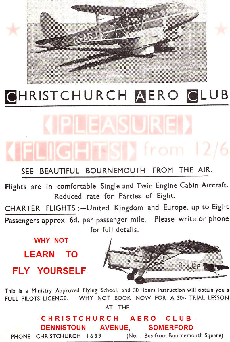 833rd aero squadron -  A Christchurch Aero Club Advert From The 50s Extreme Left Then The Four Pages Of A Club Brochure From The Same Era From Colin Richards
